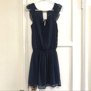 Zara Trafaluc Chiffon Navy Blue Dress